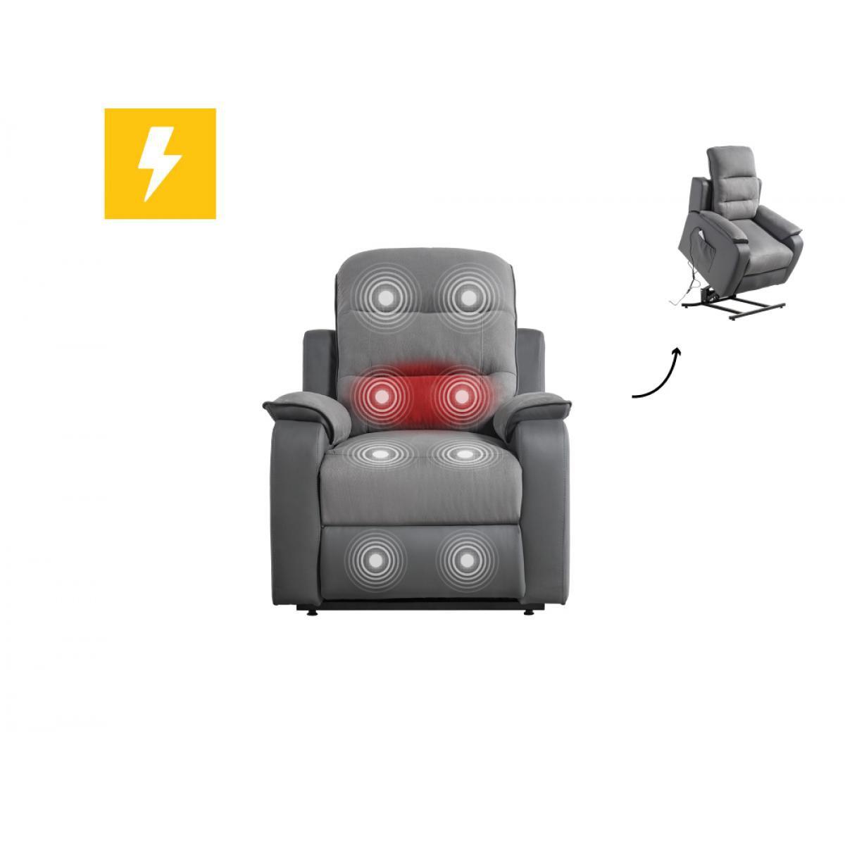 Usinestreet Fauteuil de relaxation massant chauffant FABIO électrique et releveur en Microfibre / Simili - Couleur - Gris