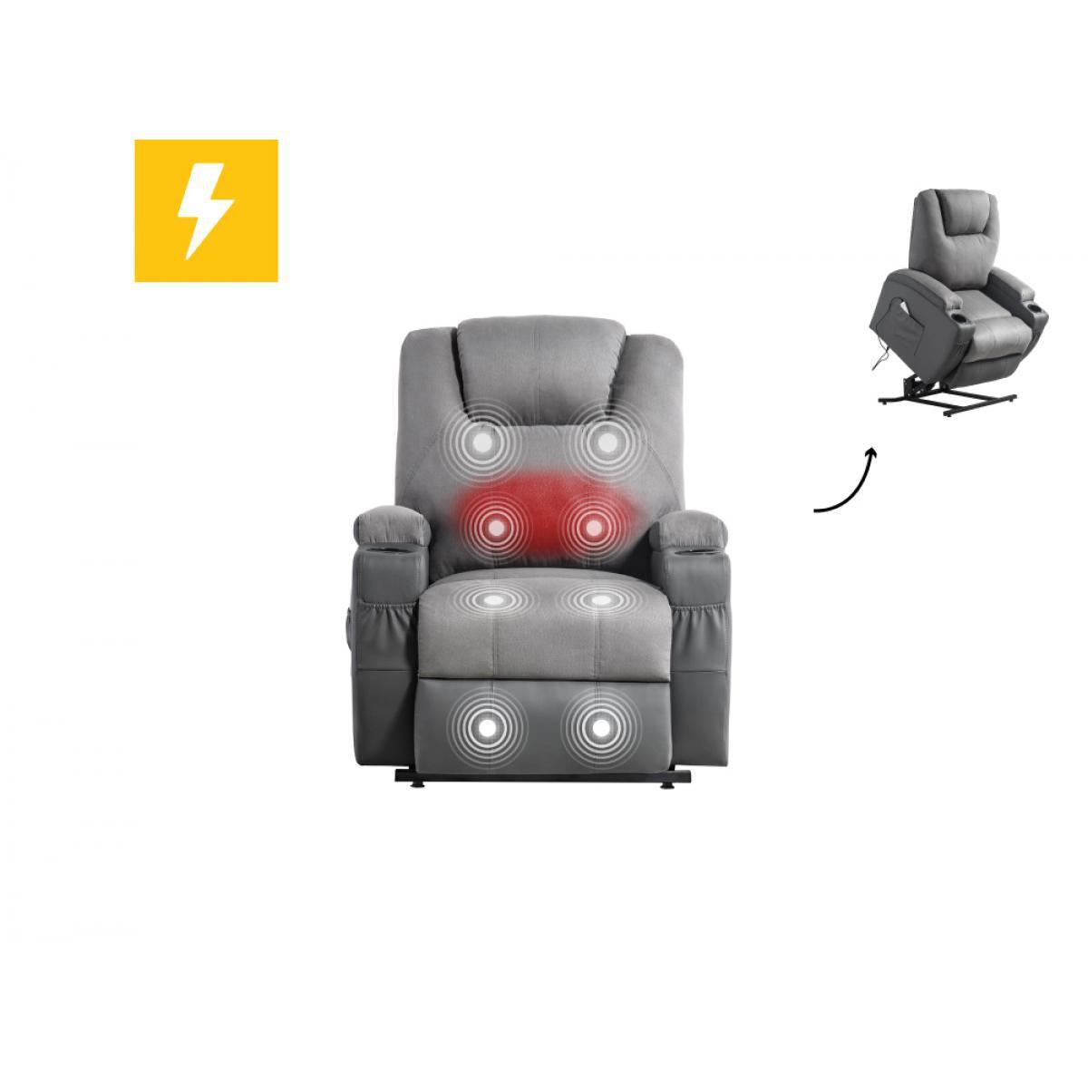 Usinestreet Fauteuil de relaxation massant chauffant FRED électrique et releveur en Microfibre / Simili - Couleur - Gris