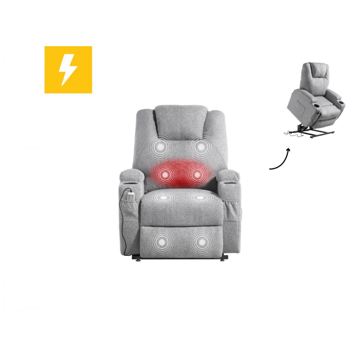 Usinestreet Fauteuil de relaxation massant chauffant FRED électrique et releveur en Tissu - Couleur - Gris