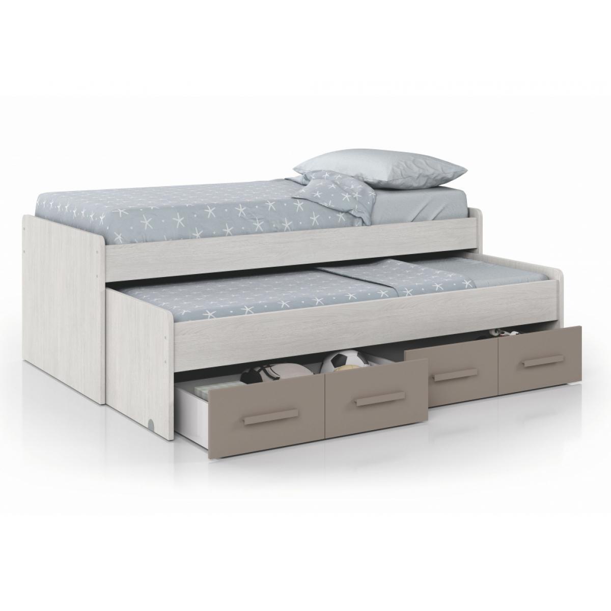 Usinestreet Lit Gigogne MAUD avec sommier inclus (190x90-180x90) et 2 tiroirs de rangement - Taupe, Largeur - 90 cm