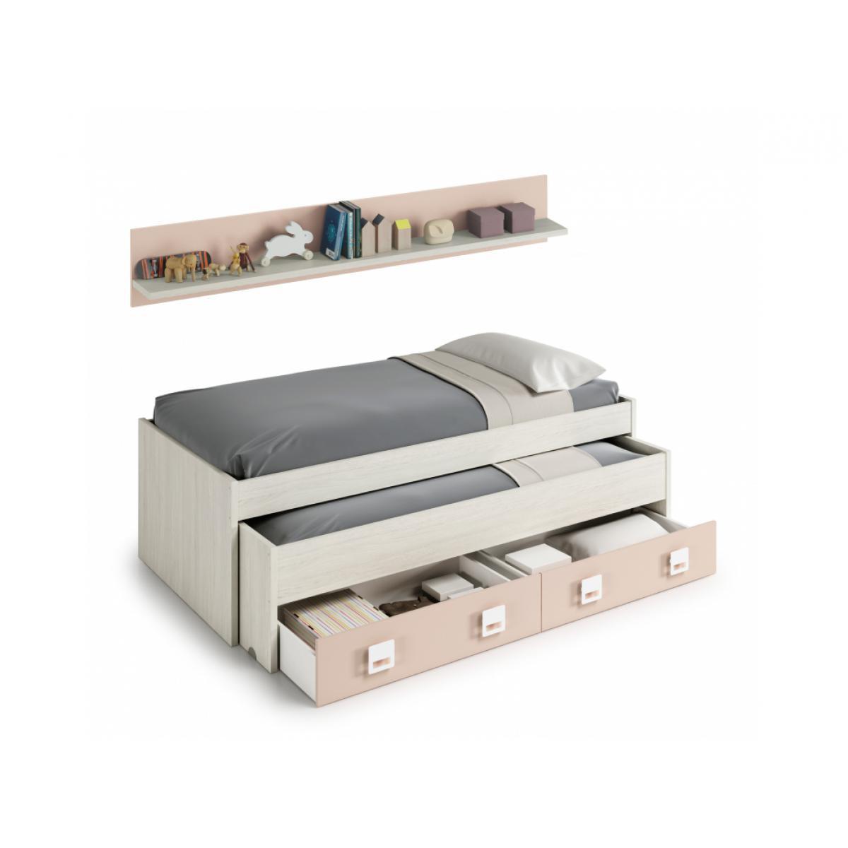 Usinestreet Lit Gigogne ROSA (190x90-180x90) avec 2 tiroirs et 1 étagère - Blanc / Rose, Largeur - 90 cm