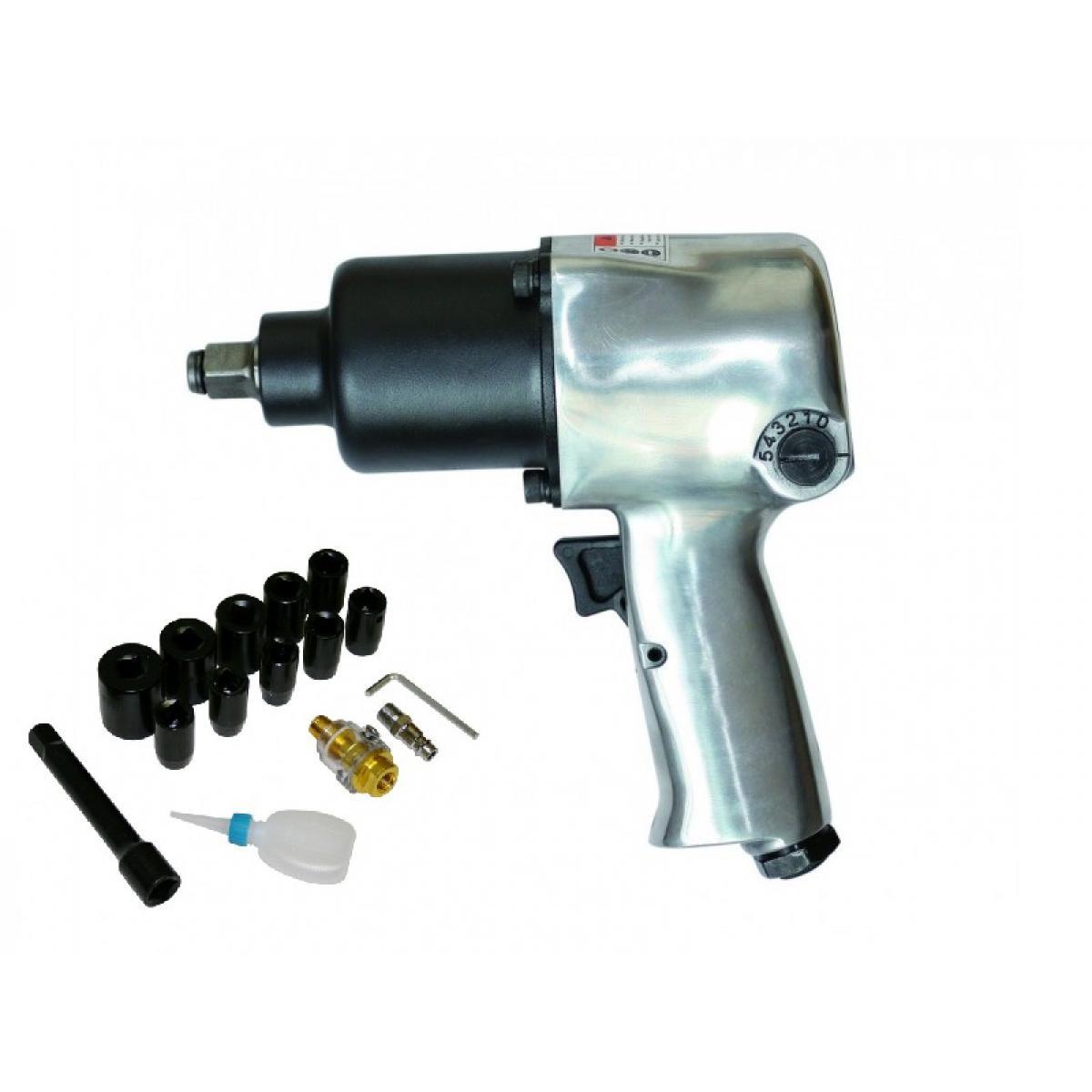 Varanmotors SPT-10303k Coffret Clé à chocs Pneumatique 1/2'' 576Nm, 17 pièces, Visseuse Pneumatique