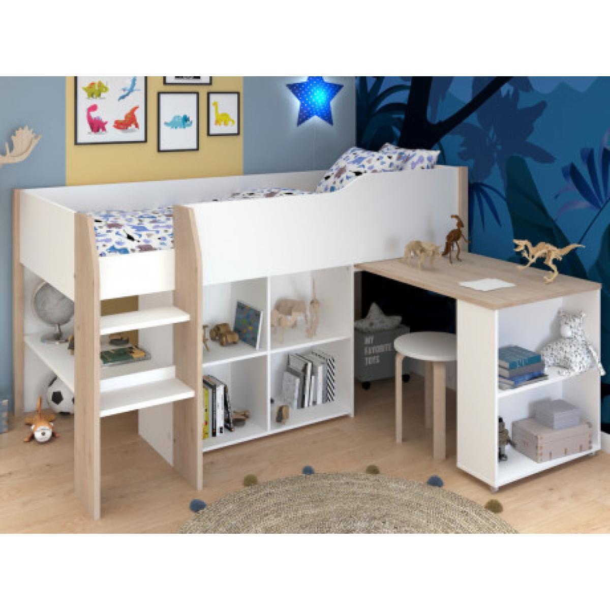 Vente-Unique Lit combiné MARIA - Avec bureau et rangements - 90 x 200 cm - Coloris : blanc et chêne