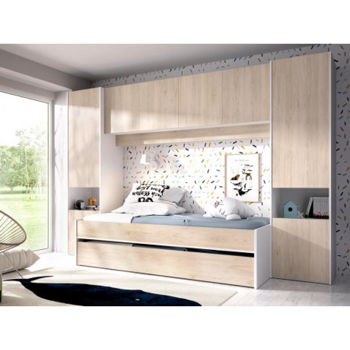 Vente-Unique Lit gigogne avec pont de lit SELENA - 90 x 190 cm - Coloris : chêne et blanc