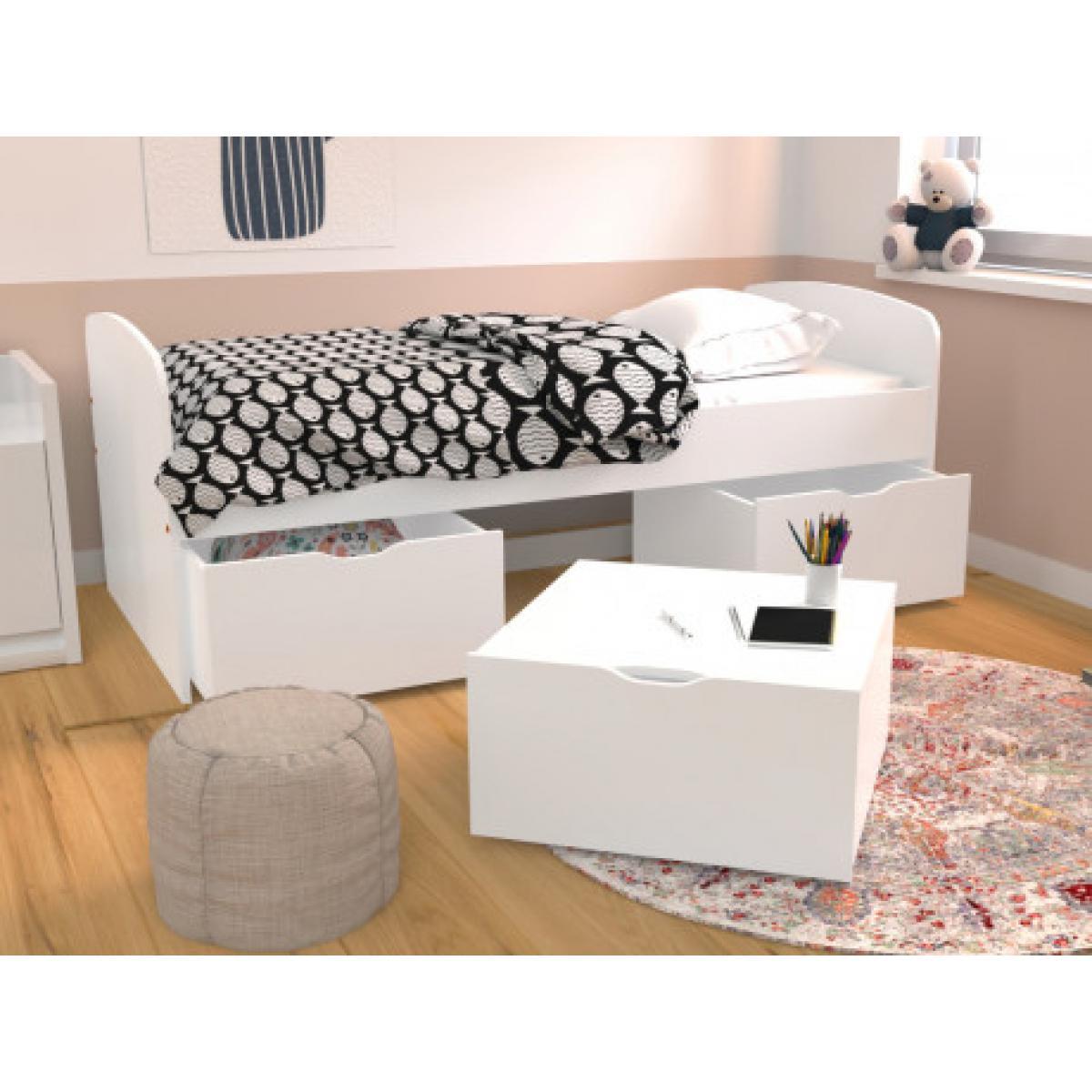 Vente-Unique Lit LOUANE avec 2 tiroirs et 1 coffre de rangement - 90x190cm - Blanc