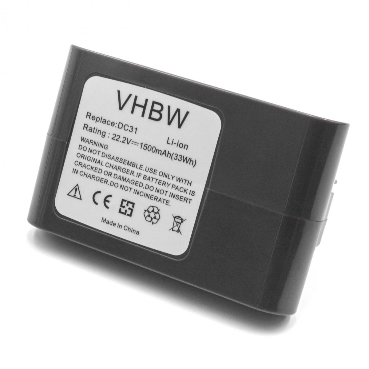 Vhbw vhbw Li-Ion batterie 1500mAh (22.2V) gris pour aspirateur robots domestiques Dyson DC43, DC43h Animal Pro, DC45, DC45 An