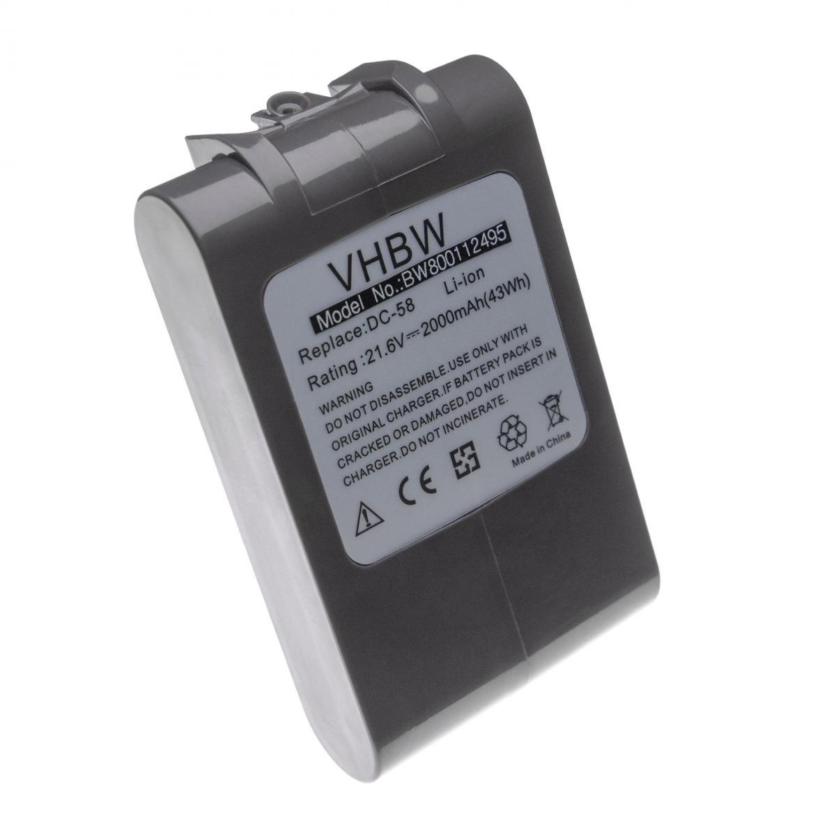Vhbw vhbw Li-Ion batterie 2000mAh (21.6V) pour aspirateur Dyson DC62, DC72, V6, V6 Absolute, V6 Animal Pro, V6 Flexi, V6 Fluf