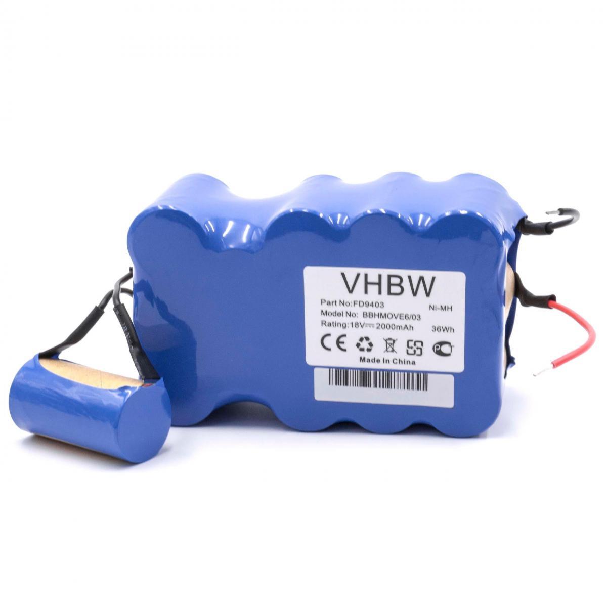 Vhbw vhbw NiMH batterie 2000mAh (18V) pour aspirateur Home Cleaner robots domestiques come Bosch FD9403, 100W + 10W