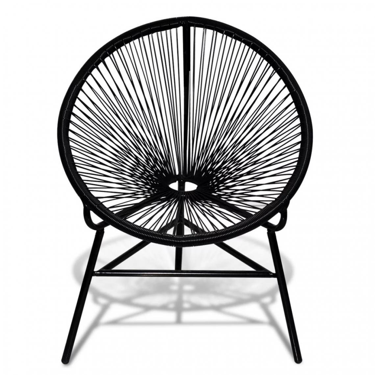 Vidaxl Chaise ovale noire en polyrotin - Noir