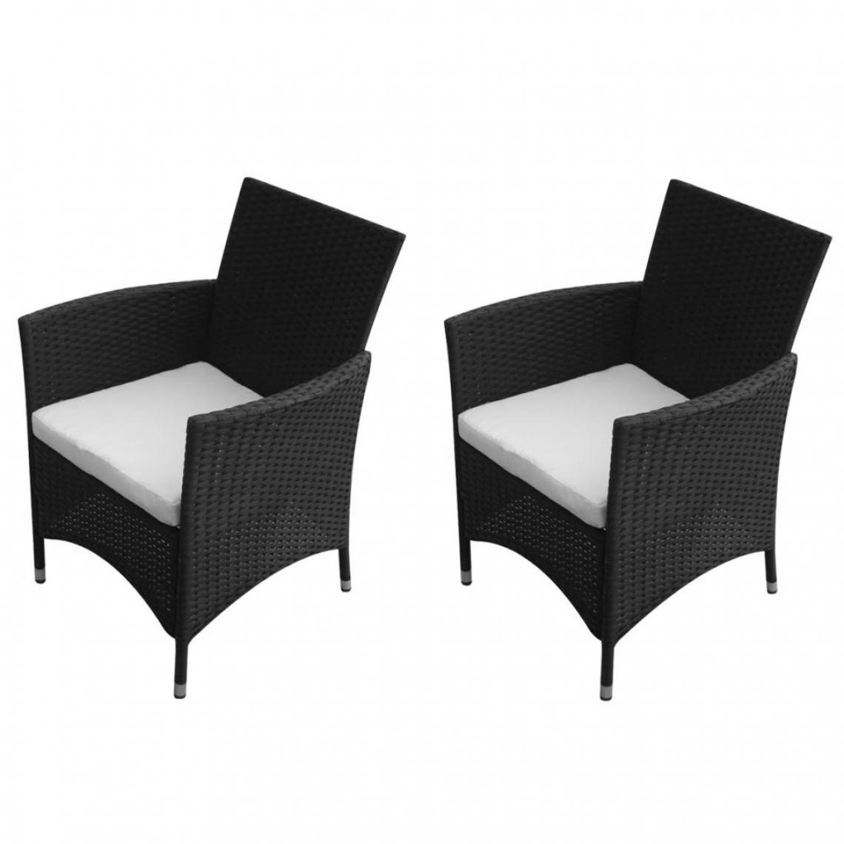 Vidaxl Chaises de jardin 2 pièces Rotin synthétique Noir - Noir