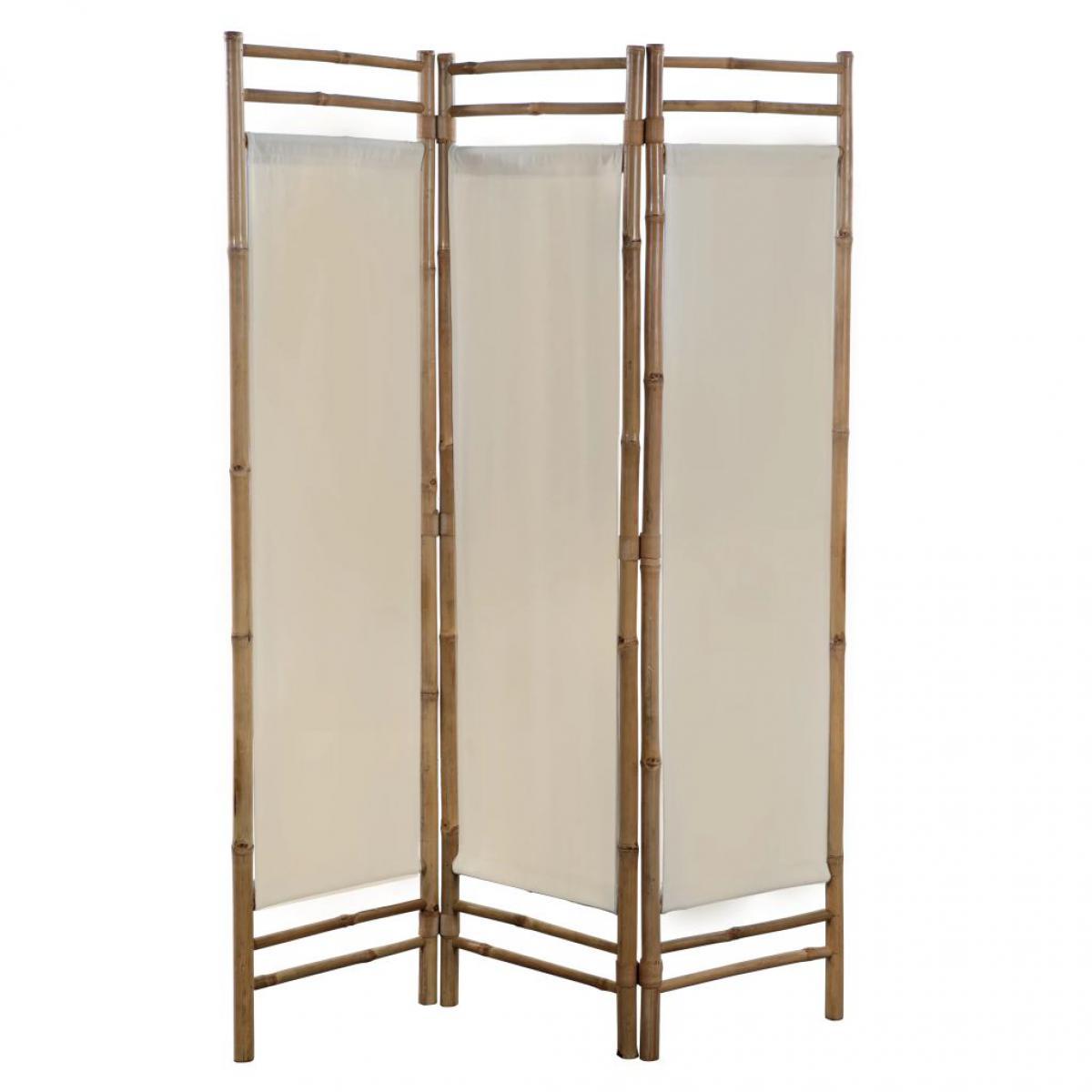 Vidaxl Cloison de séparation pliable 3 panneaux Bambou et toile 120 cm   Crème - Séparateurs de pièces - Meubles   Crème - Crèm