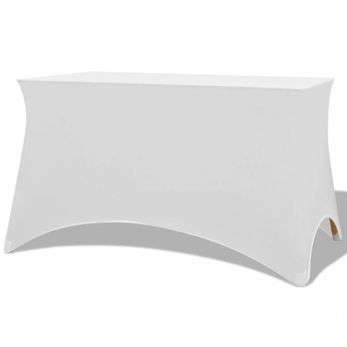 Vidaxl Housses extensibles pour table 2 pièces 183 x 76 x 74 cm Blanc - Blanc