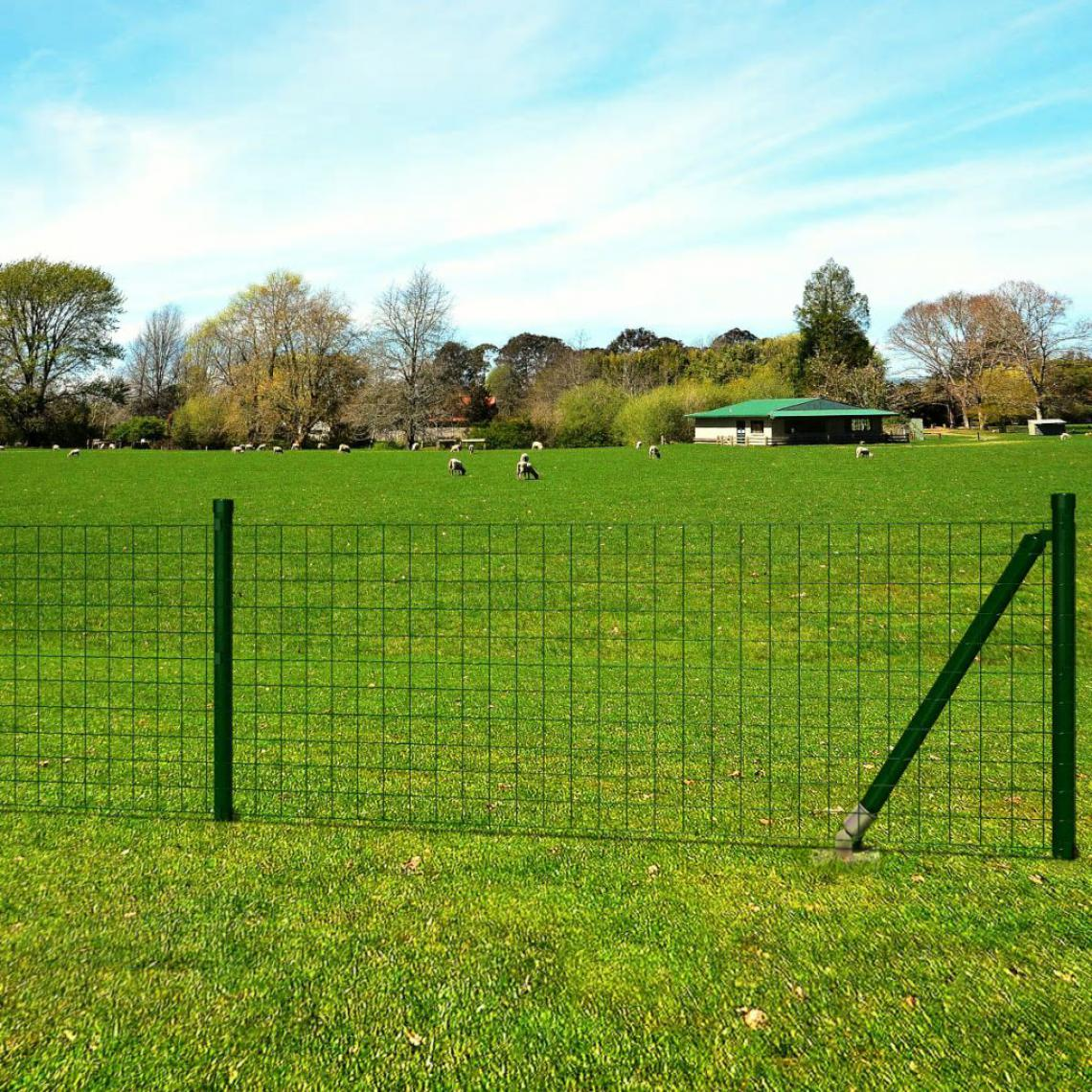 Vidaxl Jeu de clôture avec des piquets de sol 10 x 0,8 m Acier Vert - Vert