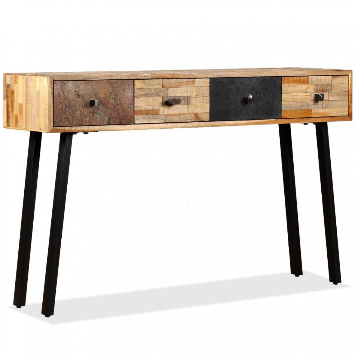 Vidaxl Table console Teck massif de récupération 120 x 30 x 76 cm - Multicolore