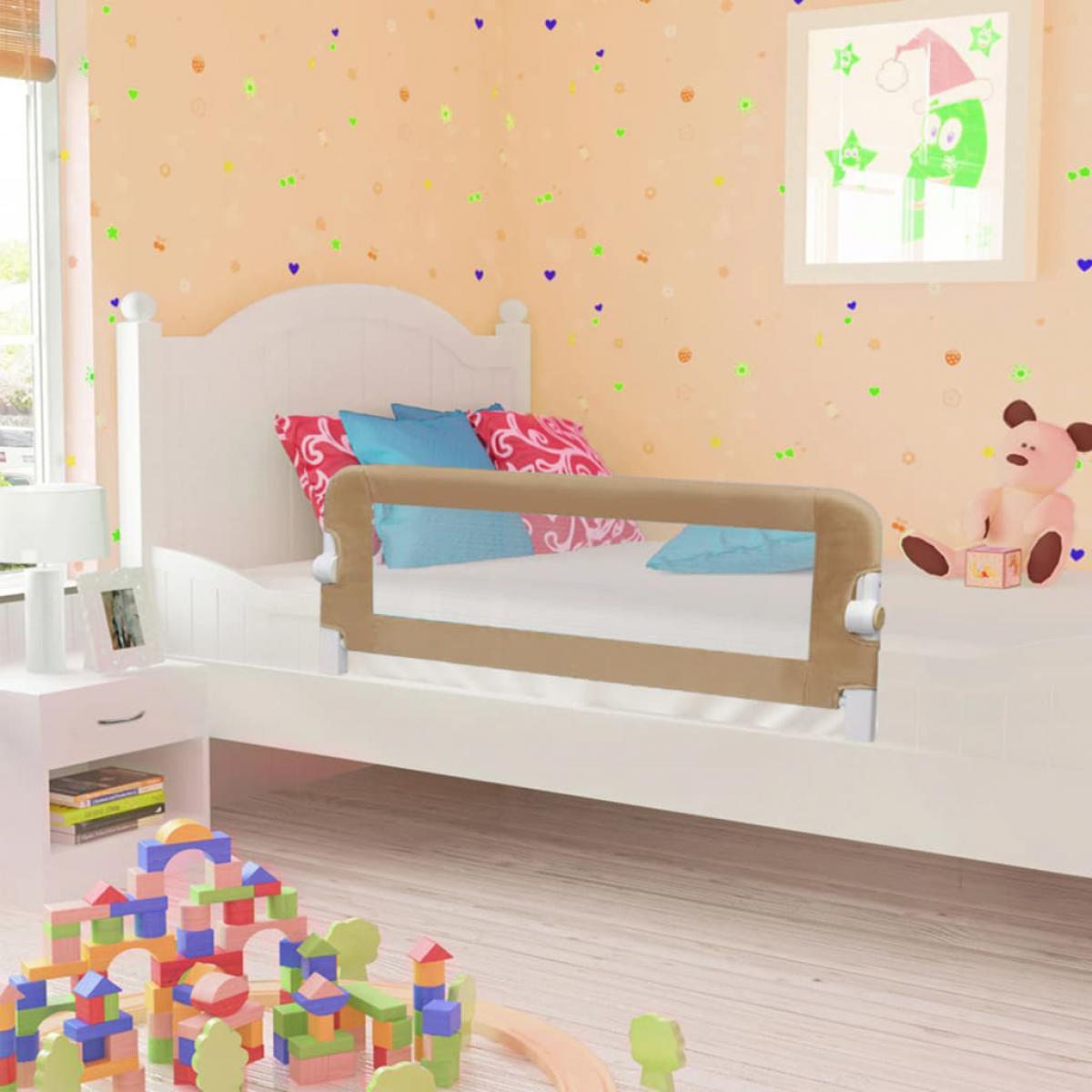 Vidaxl vidaXL Barrière de lit enfant Taupe 102x42 cm Polyester