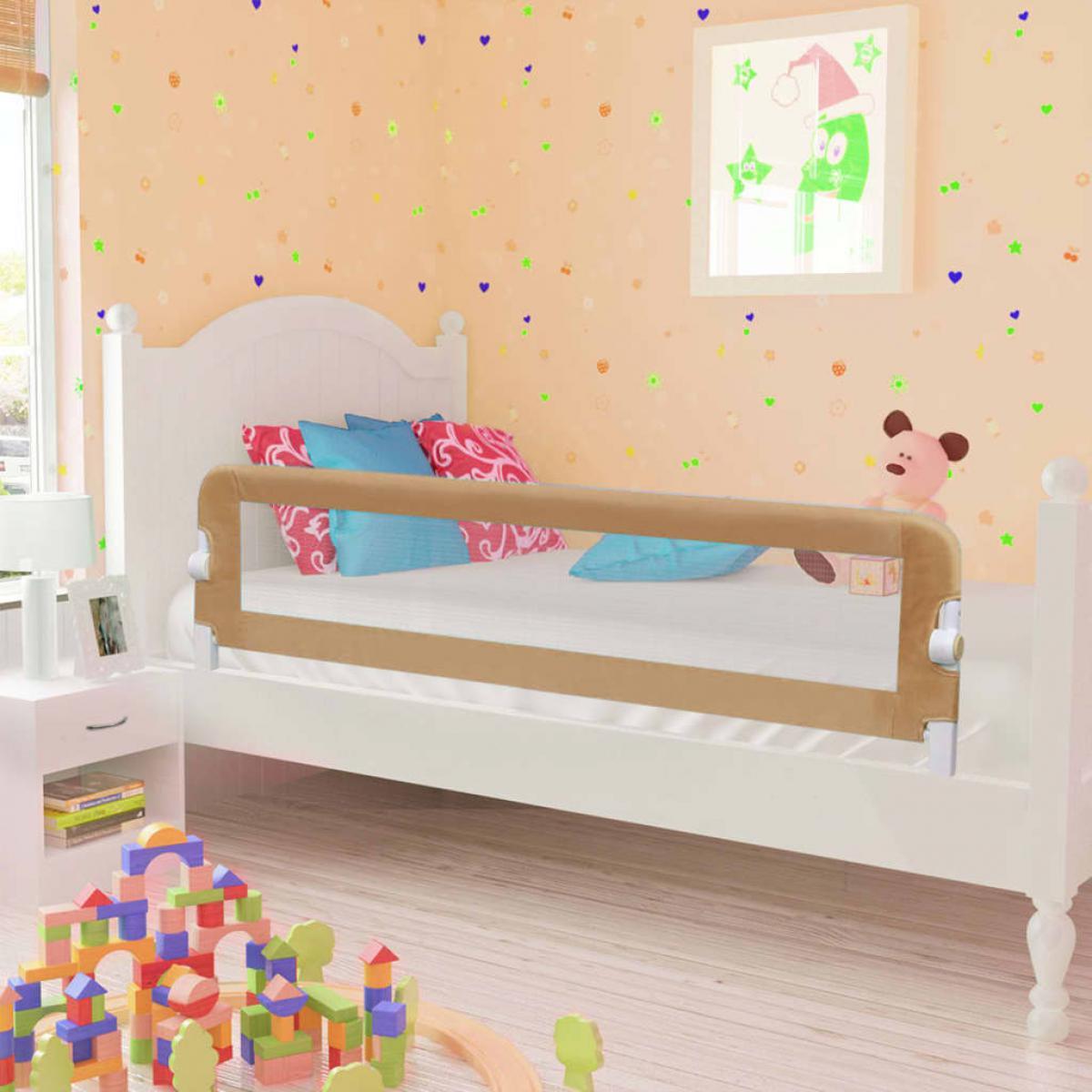 Vidaxl vidaXL Barrière de lit enfant Taupe 150x42 cm Polyester