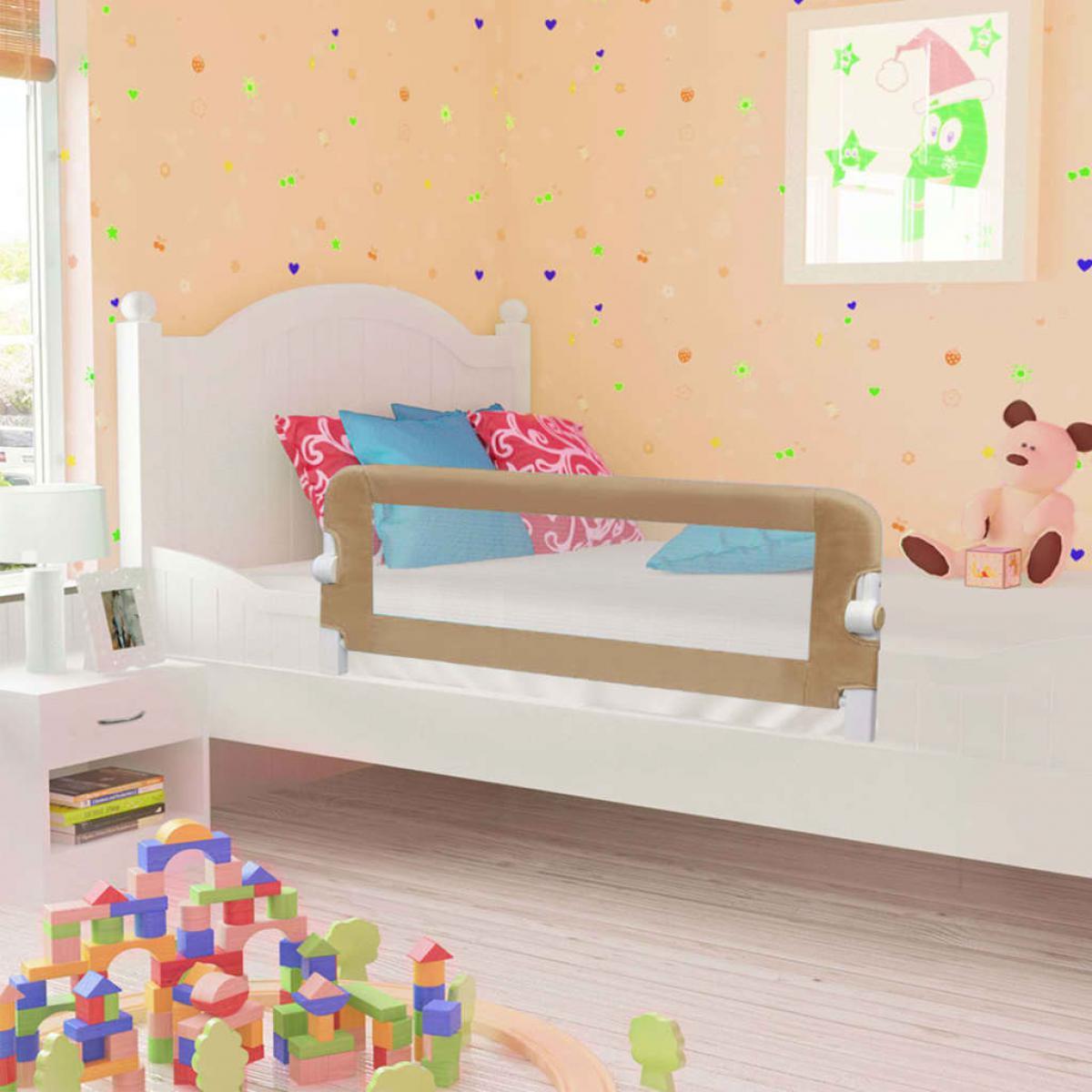 Vidaxl vidaXL Barrière de sécurité de lit enfant Taupe 120x42 cm Polyester