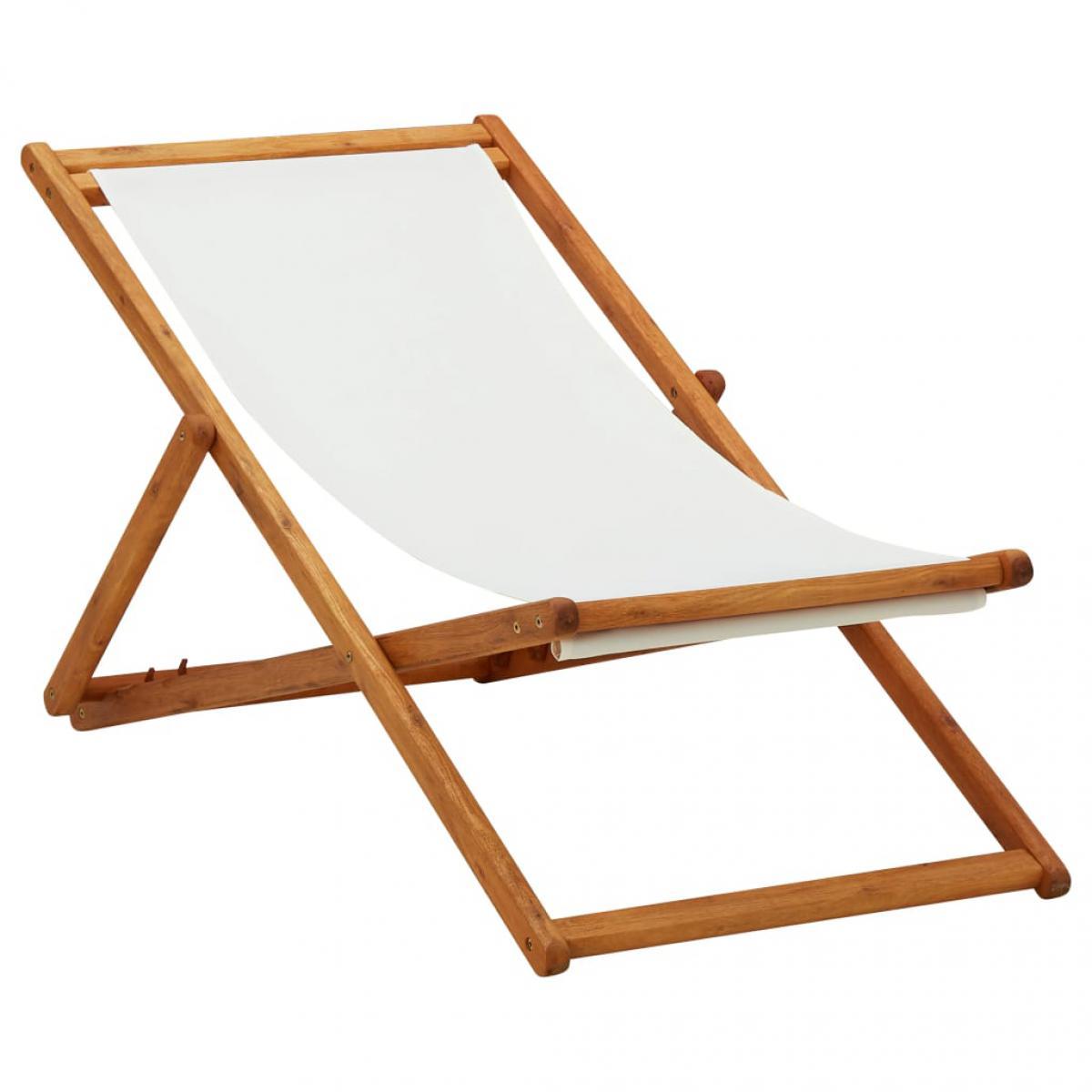 Vidaxl vidaXL Chaise pliable de plage Bois d'eucalyptus et tissu Blanc crème