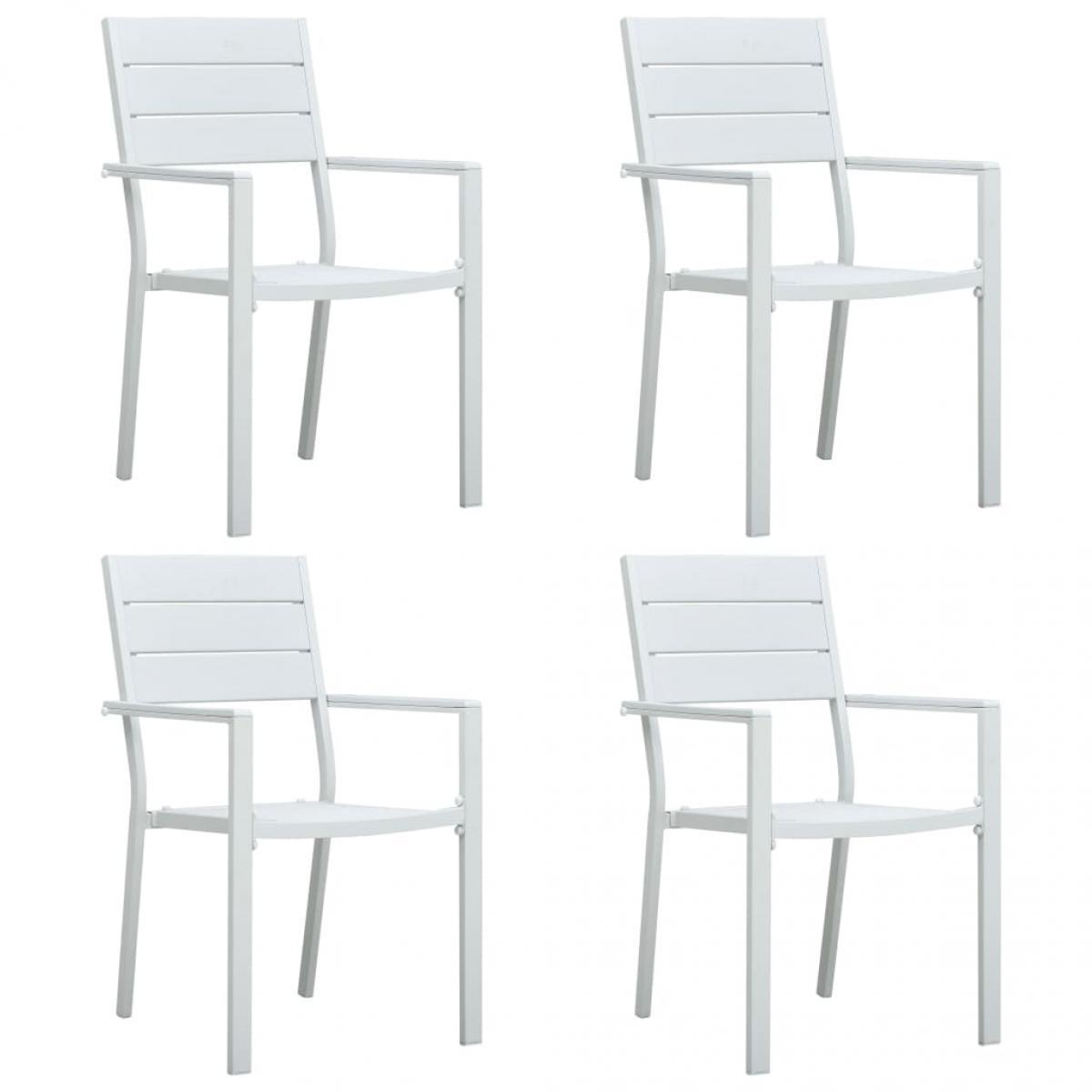 Vidaxl vidaXL Chaises de jardin 4 pcs Blanc PEHD Aspect de bois