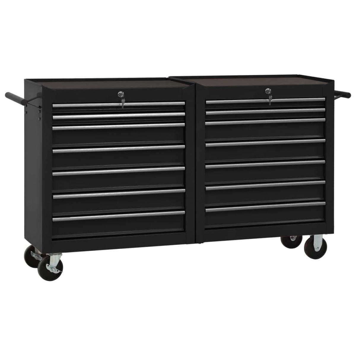 Vidaxl vidaXL Chariot à outils avec 14 tiroirs Acier Noir