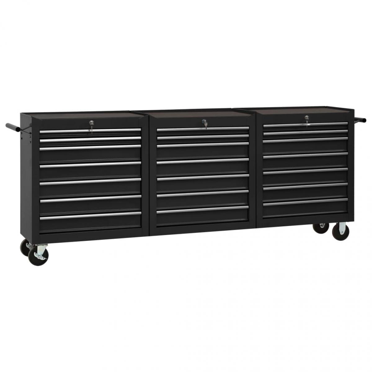Vidaxl vidaXL Chariot à outils avec 21 tiroirs Acier Noir