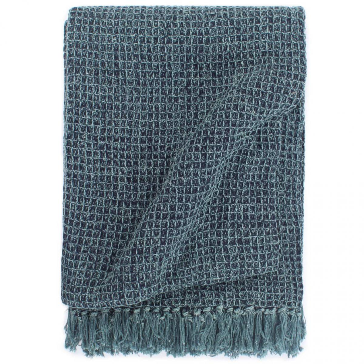 Vidaxl vidaXL Couverture en coton 125 x 150 cm Bleu indigo