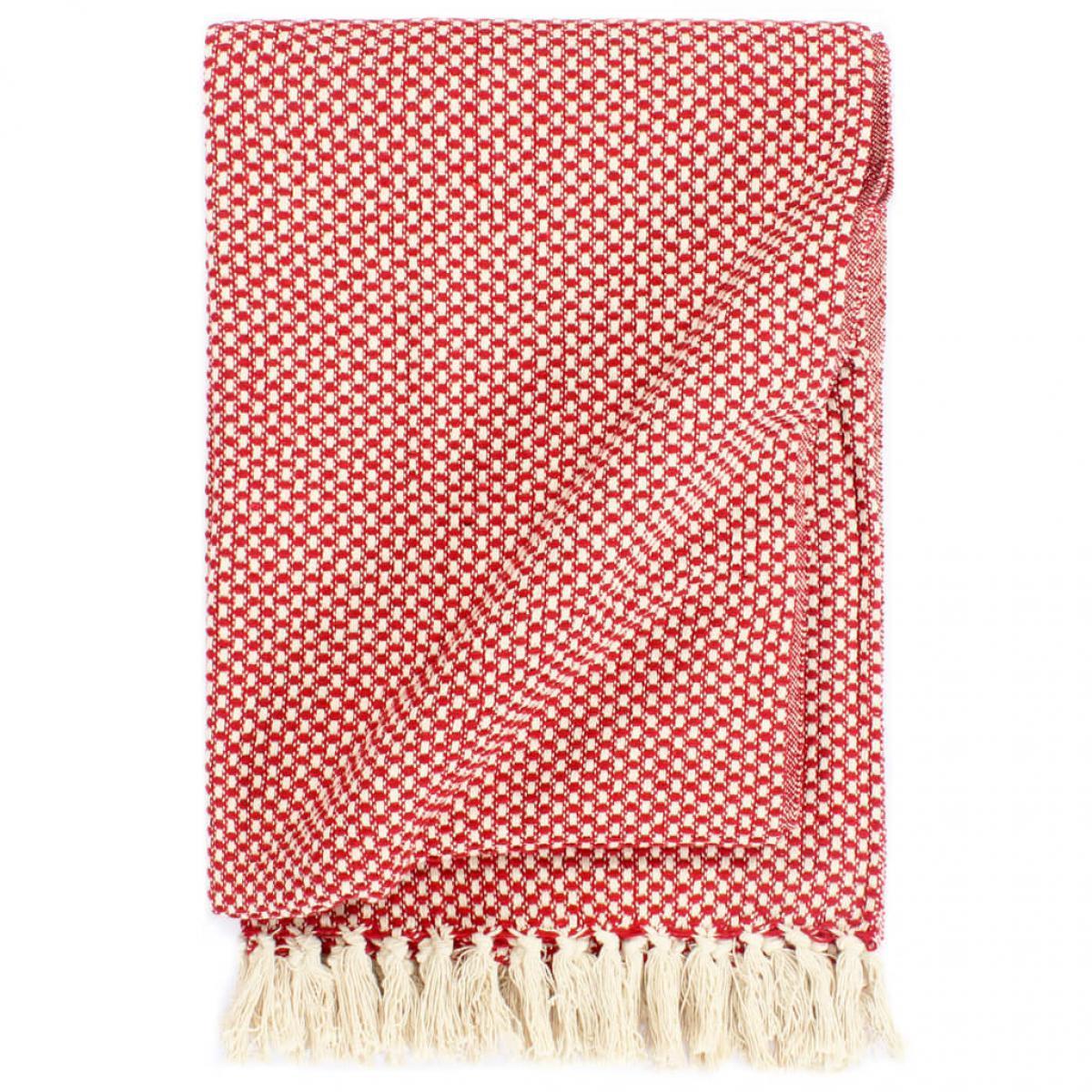 Vidaxl vidaXL Couverture en coton 125 x 150 cm Rouge