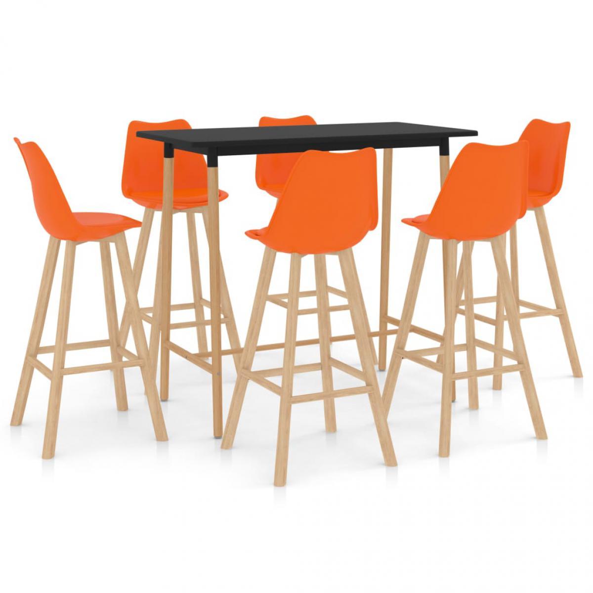 Vidaxl vidaXL Ensemble de bar 7 pcs Orange