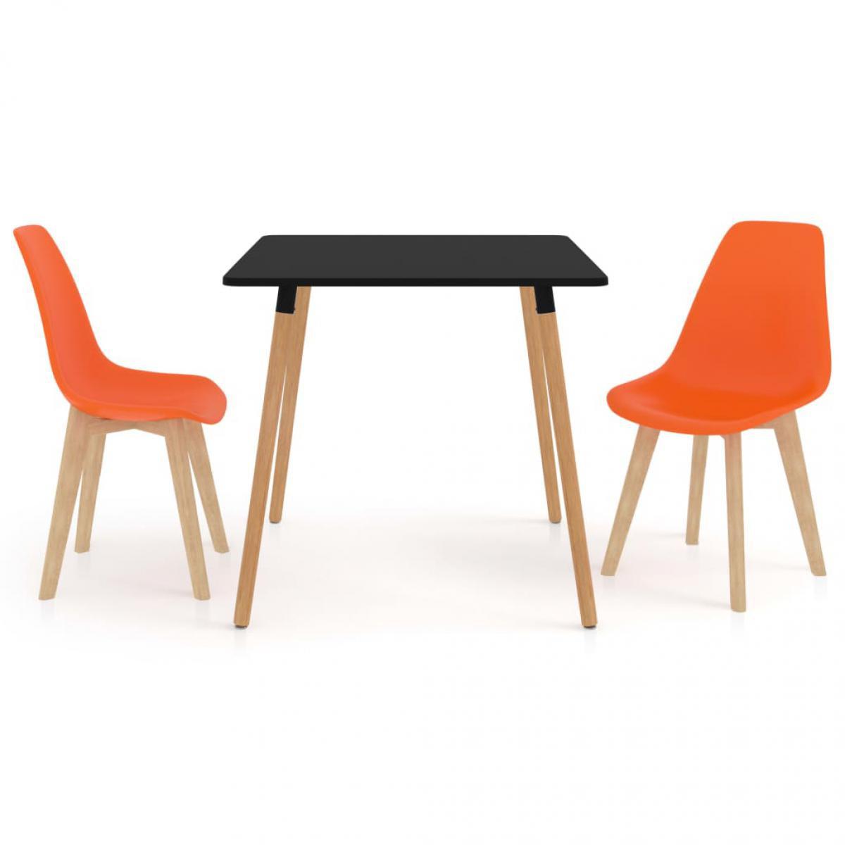 Vidaxl vidaXL Ensemble de salle à manger 3 pcs Orange
