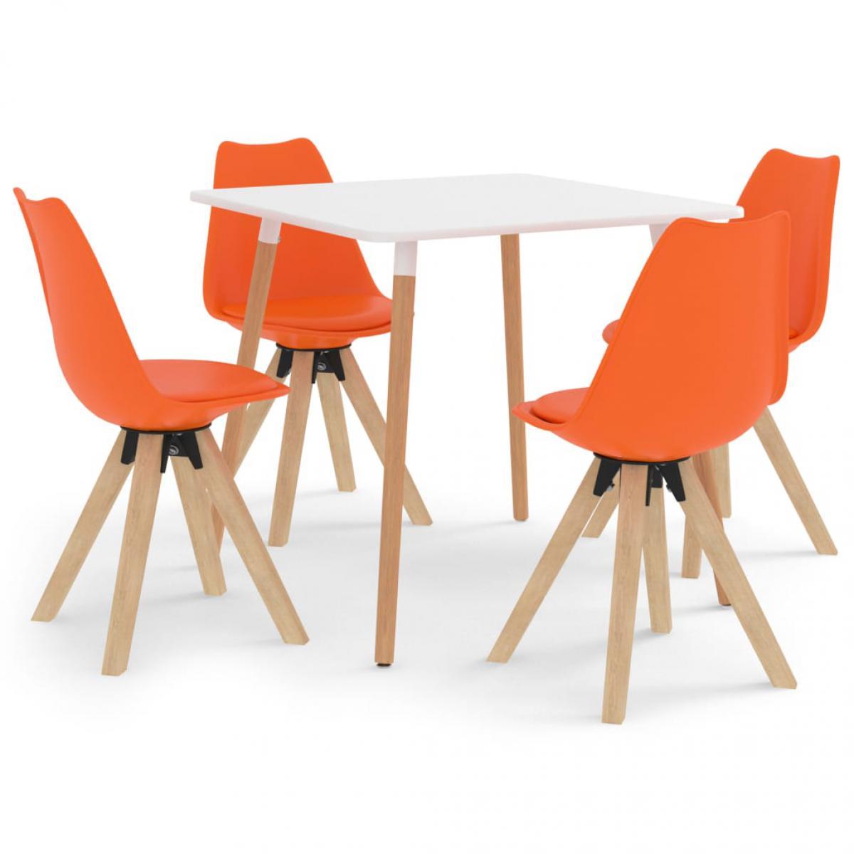 Vidaxl vidaXL Ensemble de salle à manger 5 pcs Orange