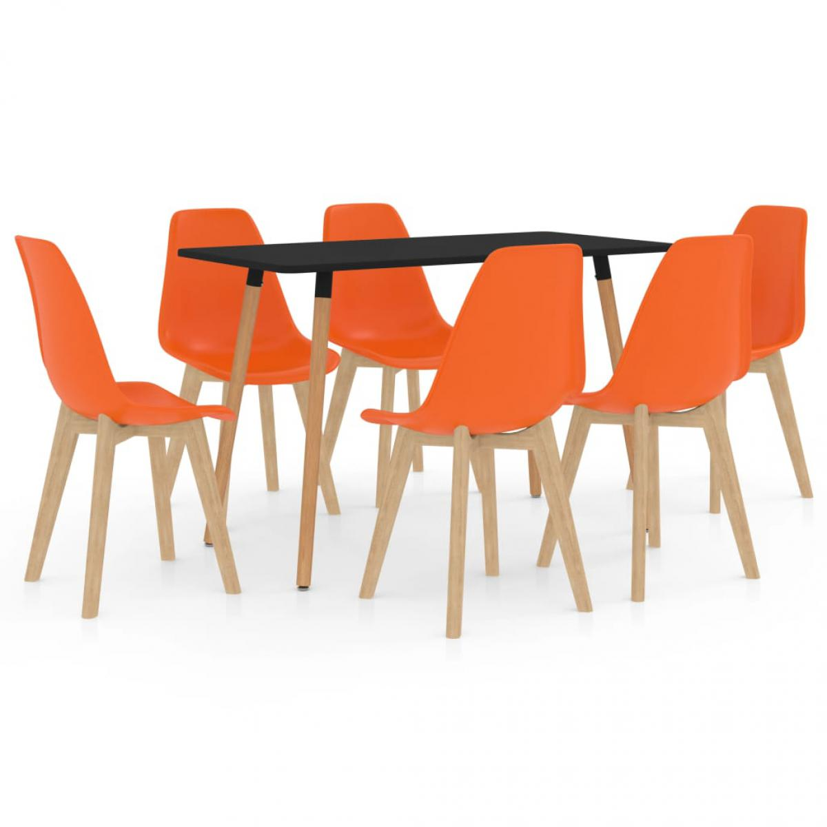 Vidaxl vidaXL Ensemble de salle à manger 7 pcs Orange