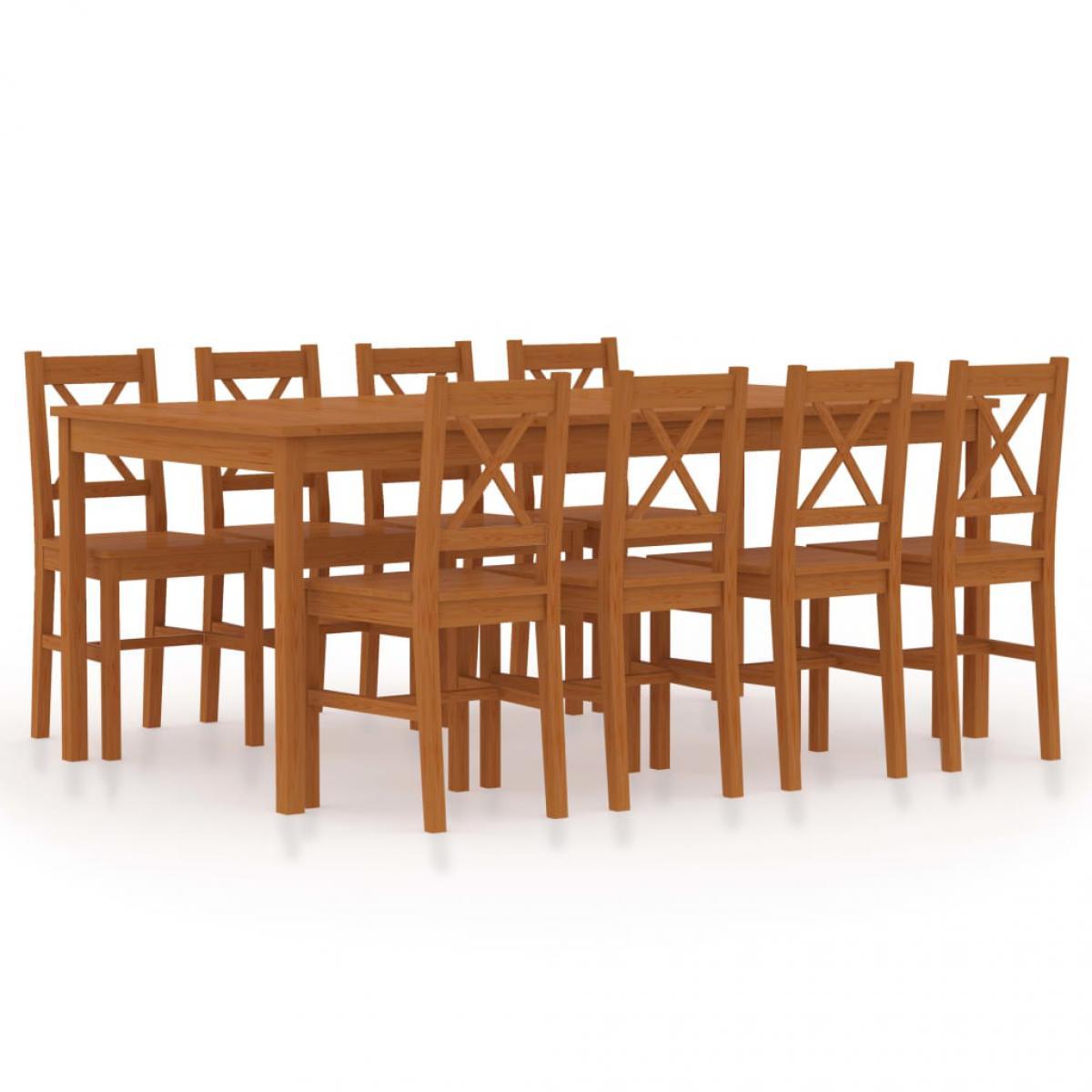 Vidaxl vidaXL Ensemble de salle à manger 9 pcs Pinède Marron miel