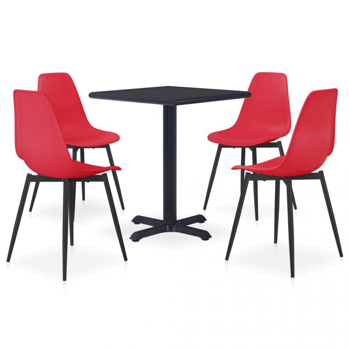 Vidaxl vidaXL Ensemble de salle à manger d'extérieur 5 pcs Métal et PP Rouge