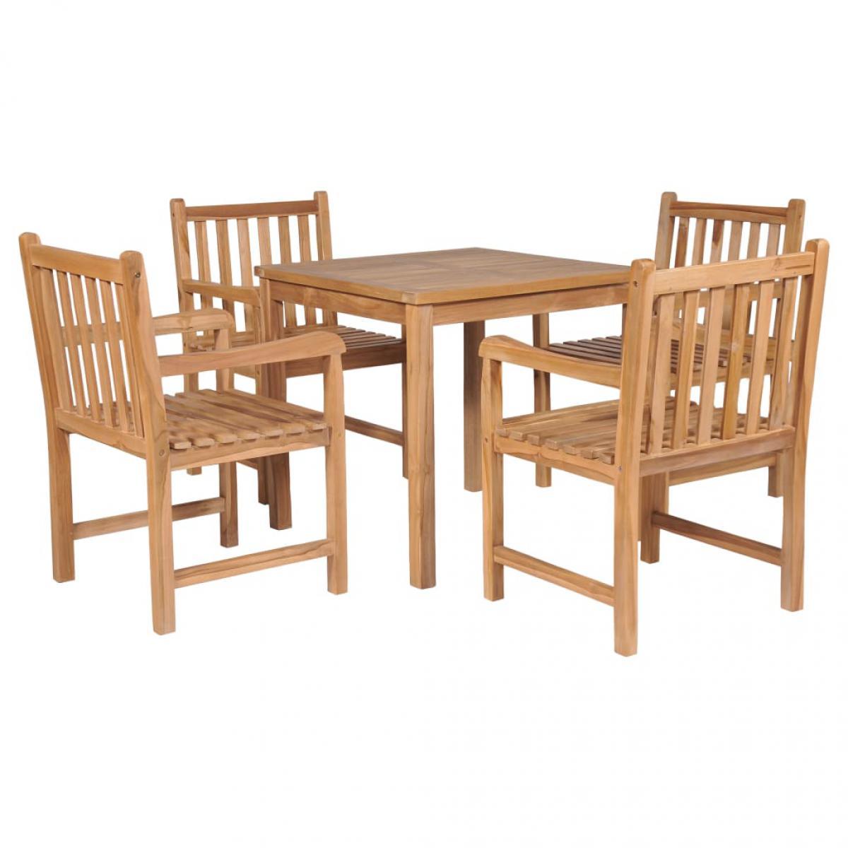 Vidaxl vidaXL Ensemble de salle à manger d'extérieur 5pcs Bois solide de teck