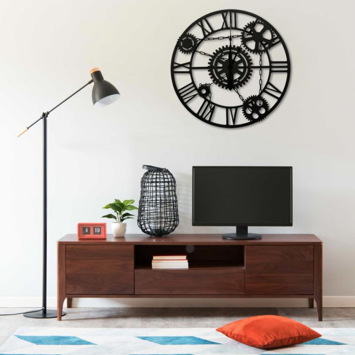 Vidaxl vidaXL Horloge murale Marron 80 cm Métal