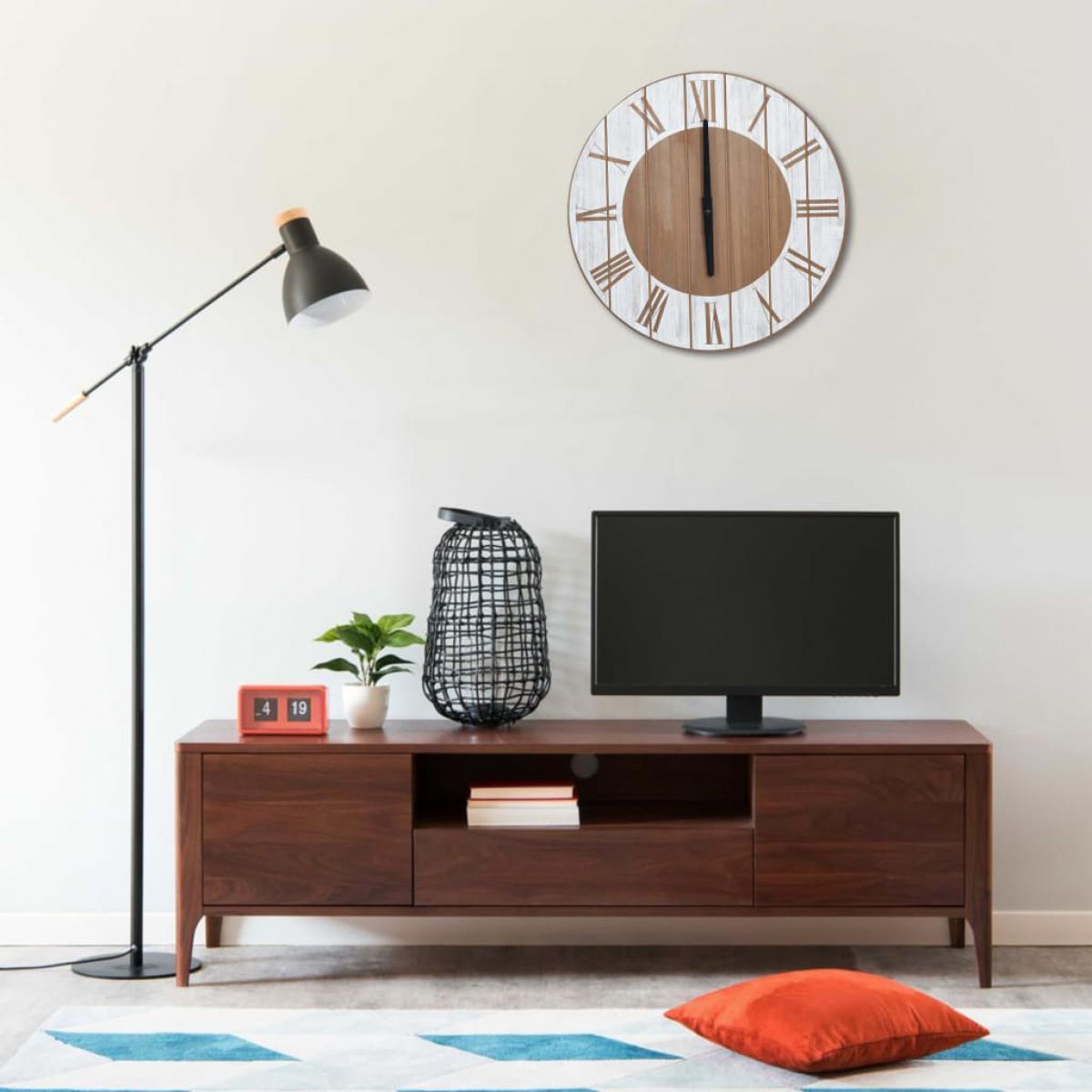 Vidaxl vidaXL Horloge murale Marron et blanc 39,5 cm MDF