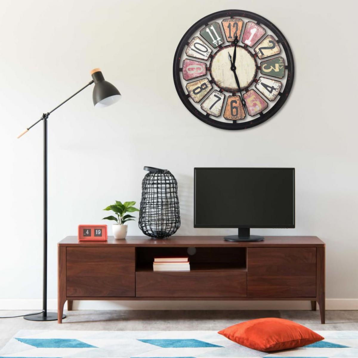 Vidaxl vidaXL Horloge murale Multicolore 80 cm MDF
