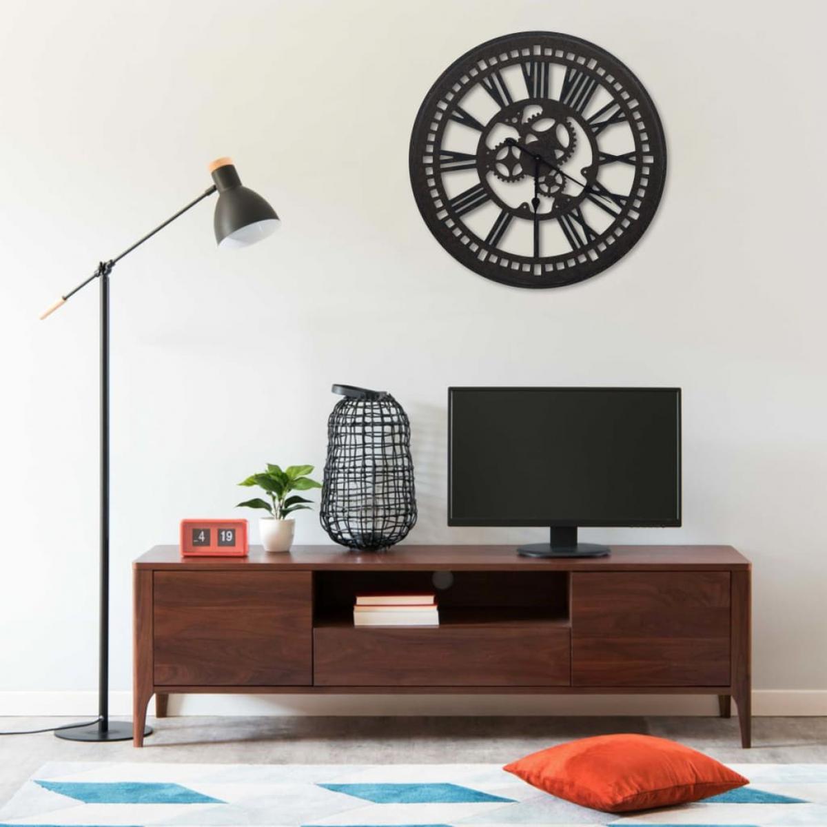 Vidaxl vidaXL Horloge murale Noir 80 cm MDF