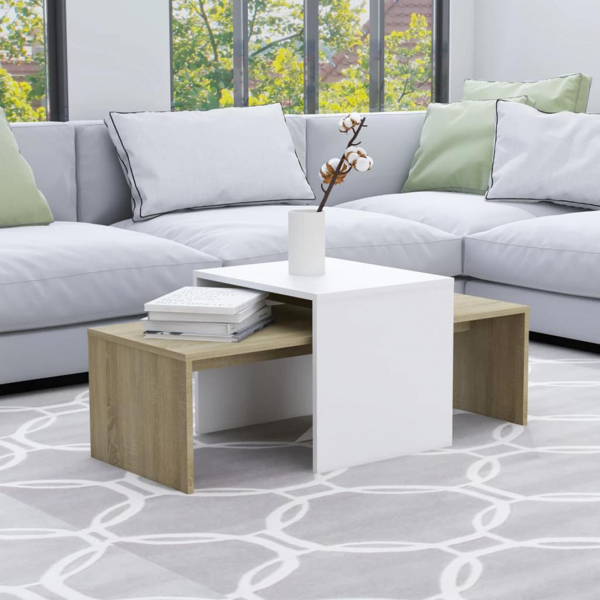 Vidaxl vidaXL Jeu de tables basses Blanc chêne sonoma 100x48x40 cm Aggloméré