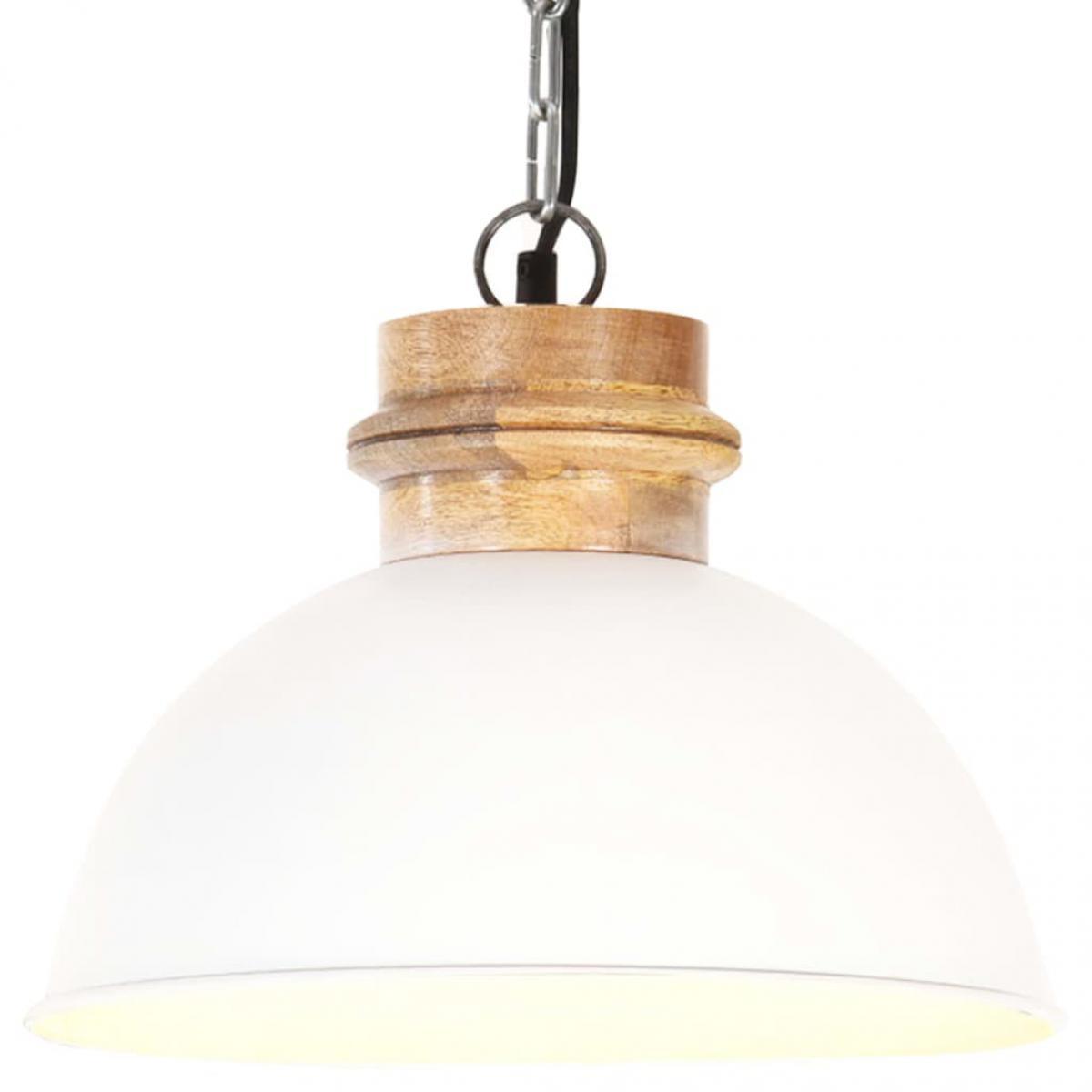 Vidaxl vidaXL Lampe suspendue industrielle Blanc Rond 32 cm E27 Manguier