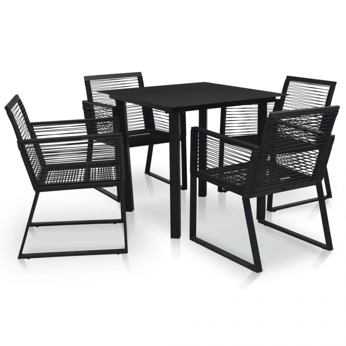 Vidaxl vidaXL Mobilier à dîner d'extérieur 5 pcs Rotin PVC Noir