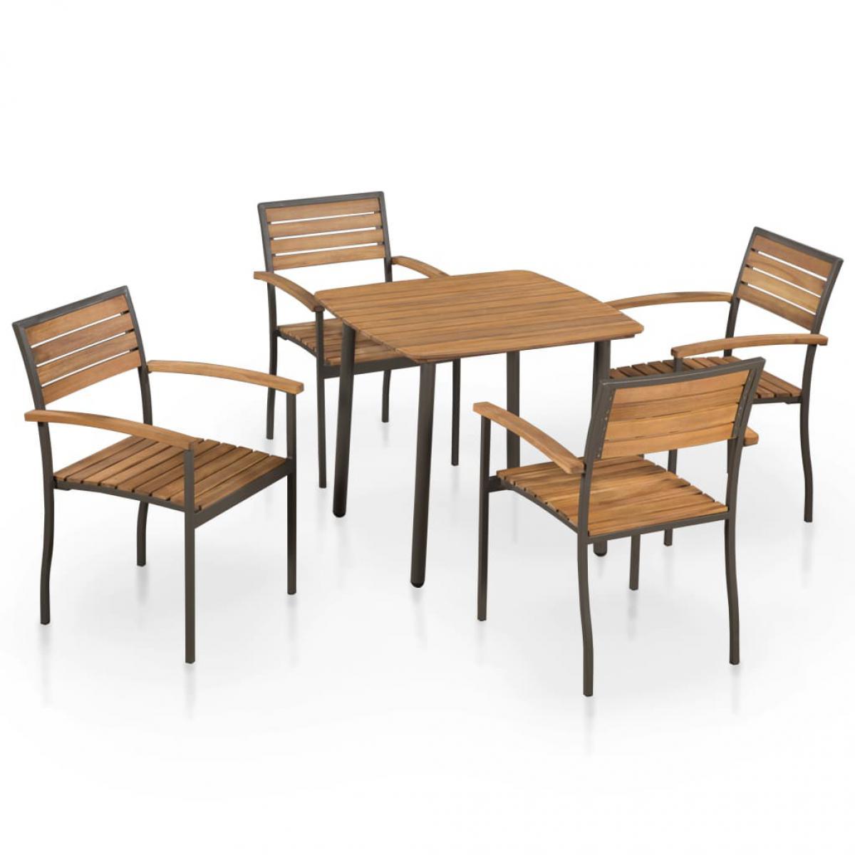 Vidaxl vidaXL Mobilier à dîner d'extérieur 5pcs Bois d'acacia solide et acier