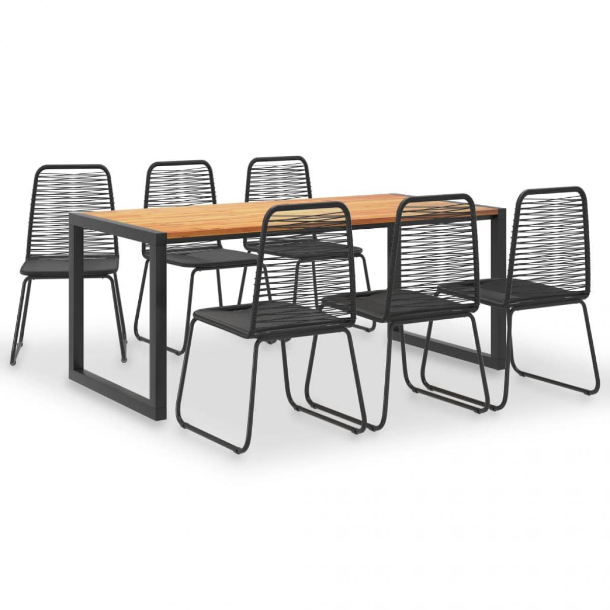 Vidaxl vidaXL Mobilier à dîner d'extérieur 7 pcs Acacia et résine tressée