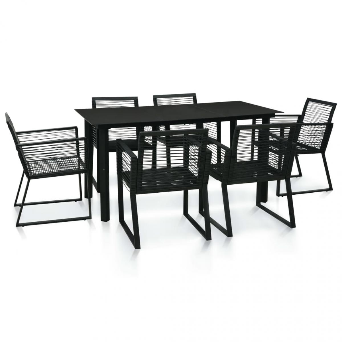 Vidaxl vidaXL Mobilier à dîner d'extérieur 7 pcs Rotin PVC Noir