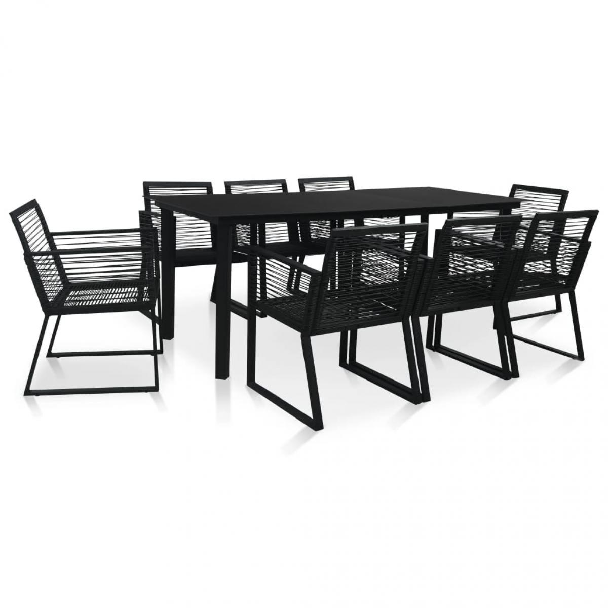 Vidaxl vidaXL Mobilier à dîner d'extérieur 9 pcs Rotin PVC Noir