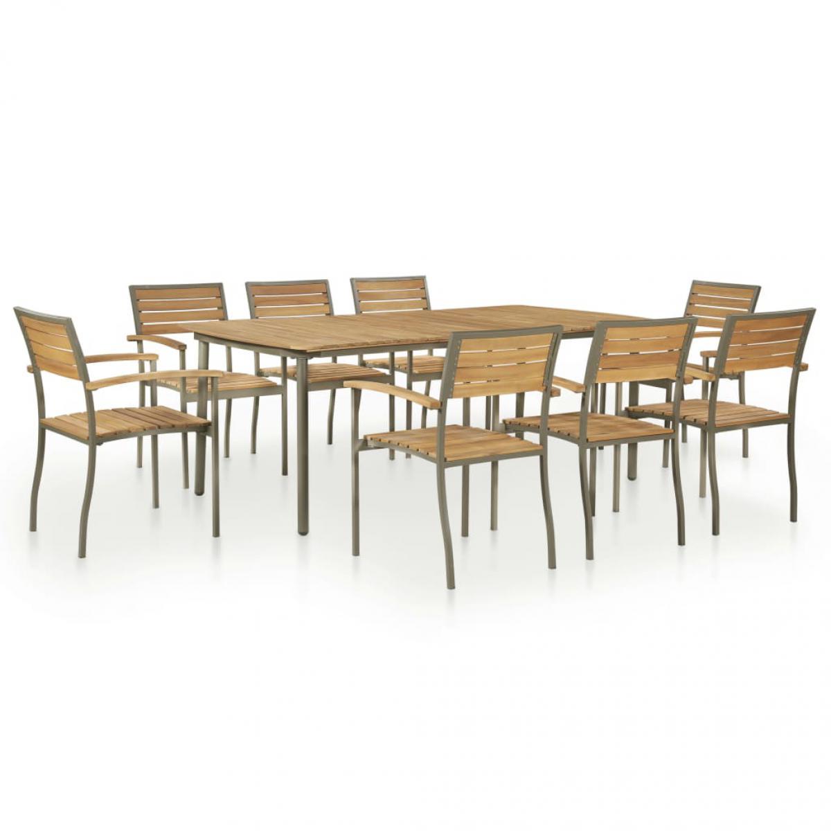 Vidaxl vidaXL Mobilier à dîner d'extérieur 9pcs Bois d'acacia solide et acier