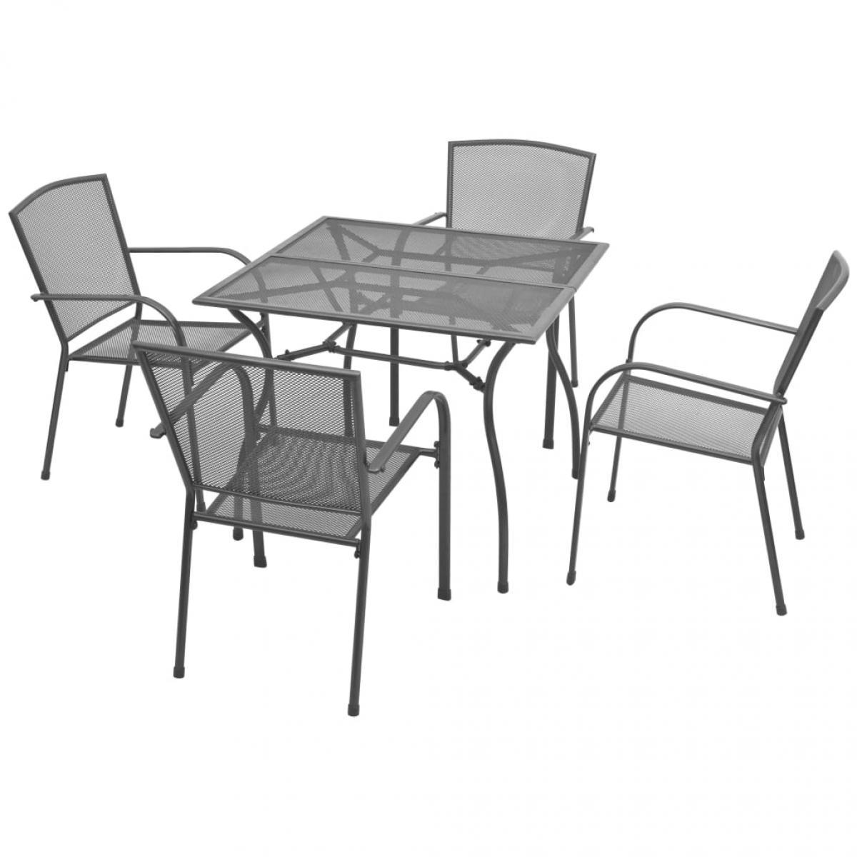 Vidaxl vidaXL Mobilier de salle à manger d'extérieur 5 pcs Acier Anthracite