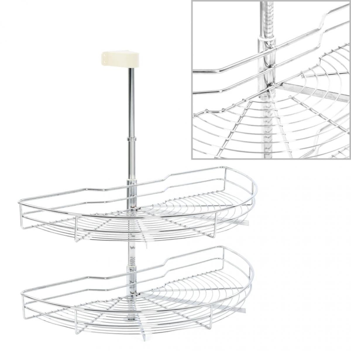 Vidaxl vidaXL Panier à 2 niveaux métallique de cuisine 180 degrés 75x38x80 cm