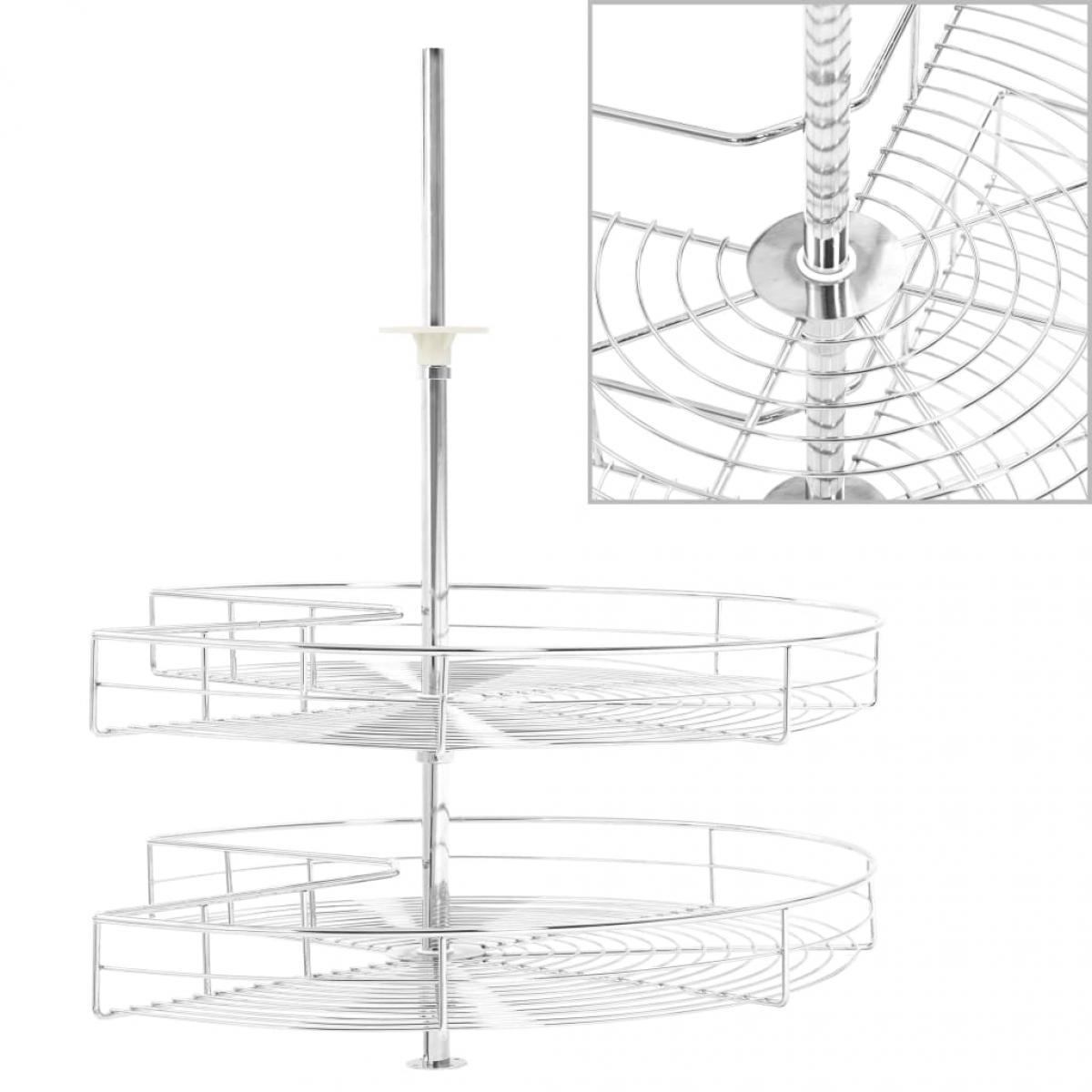 Vidaxl vidaXL Panier à 2 niveaux métallique de cuisine 270 degrés 71x71x80 cm