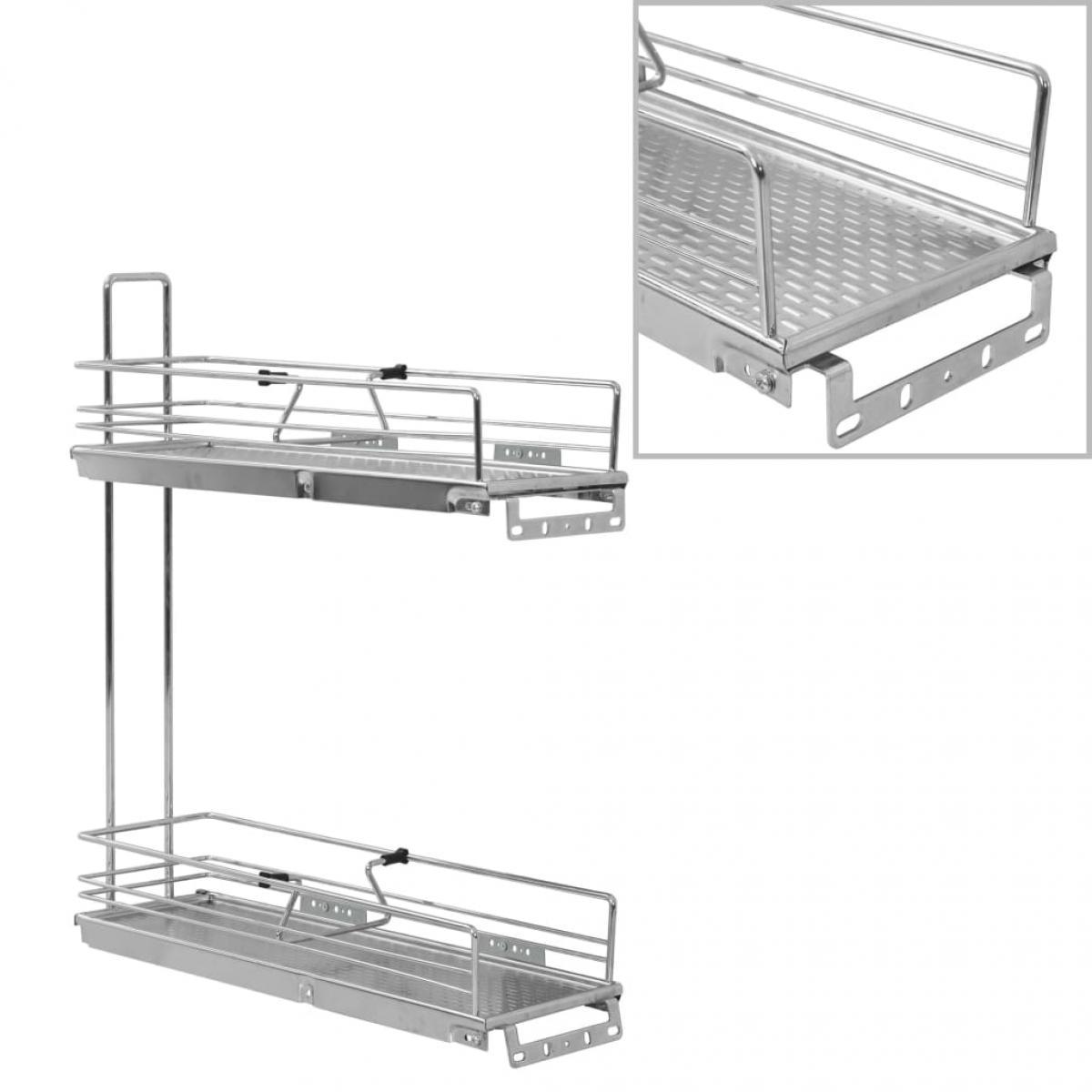 Vidaxl vidaXL Panier à 2 niveaux métallique de cuisine 47x15x54,5 cm